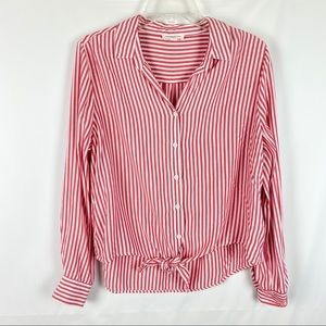 BeachLunchLounge Sz L Large Top Striped Tie Front